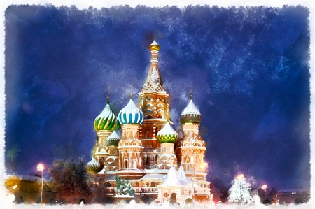 夜聖バジル大聖堂のカラフルな絵画 写真素材