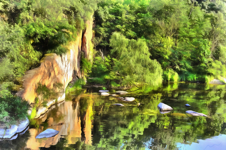 Landscape colorful painting of Ros River Stock Photo