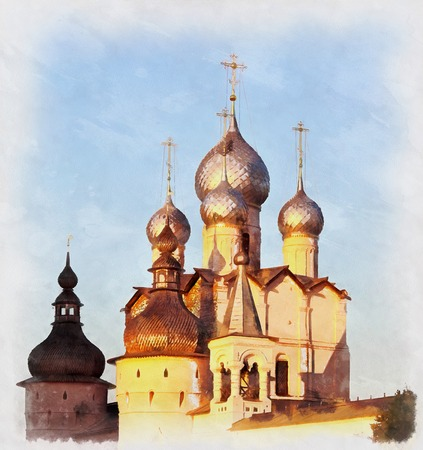 Colorful painting of Church of Resurrection Stock Photo