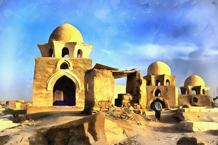 Colorful painting of Mausoleum, Fatimid cemetery Stock Photo