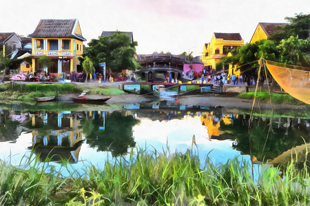 Colorful painting of evening landscape in Hoi An