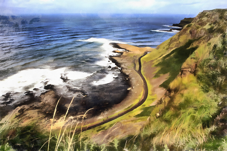 Colorful painting of Causeway Coast Stock Photo