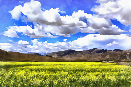 Colorful painting of landscape with mountains