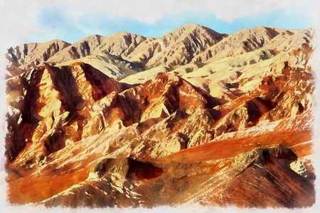 flaming: Colorful painting of Flaming Mountains Stock Photo