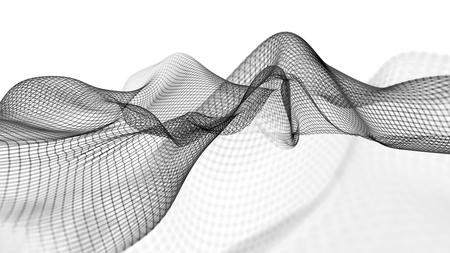 3D illustration of abstract wave structure scientific background