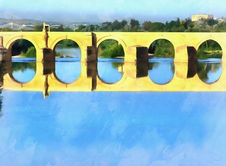 Colorful painting of Roman Bridge Stock Photo