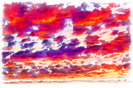 Clouds on sunset sky colorful painting Stock Photo