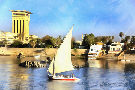 mideast: Colorful painting of yacht on the Nile