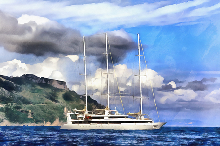 Colorful painting of sailing yacht
