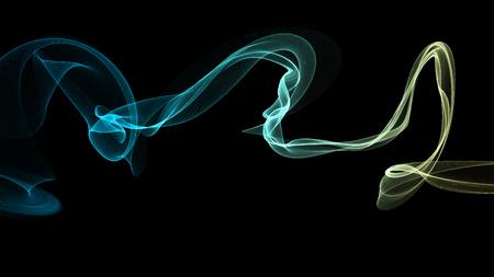 3D illustratie van kleurrijke golven lijken op rook