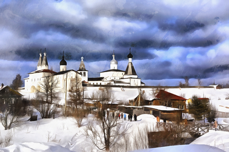 in monastery: Colorful painting of Ferapontov Monastery