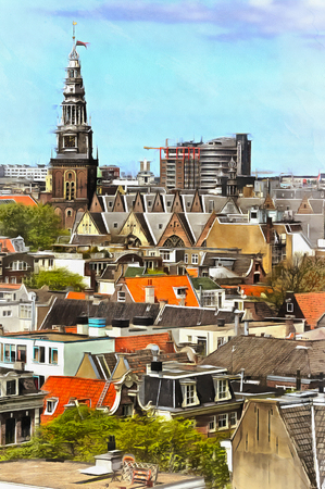 Old town cityscape aerial view colorful painting