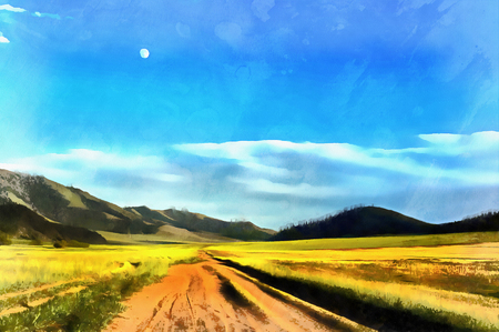 Landscape colorful painting with road