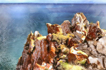 Colorful painting of Olkhon island, Baikal lake, Russia