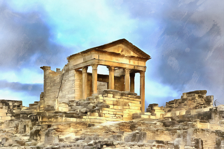 Colorful painting of Main temple, Dougga Thugga Tunisia