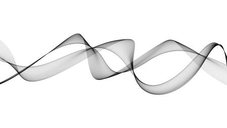 3D-afbeelding van zwarte golven zien eruit als rook op witte achtergrond
