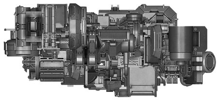 enginery: 3d illustration of abstract industrial equipment technology mechanism on white background