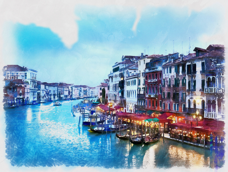 Colorful painting of the Grand Canal from Rialto Bridge Ponte di Rialto, Venice, Itlaly