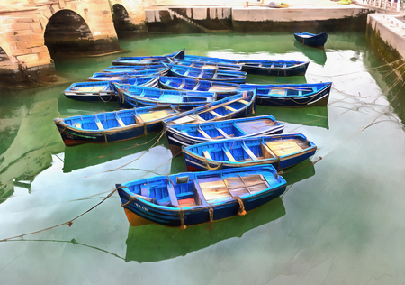 atlantic city: Colorful painting of blue boats at harbor, Essaouira, Morocco