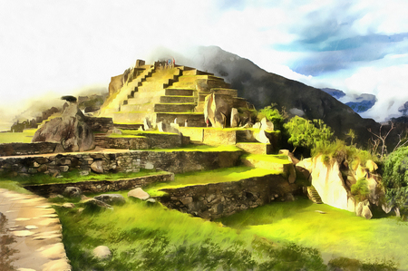 Colorful painting of Machu Picchu archaeological site