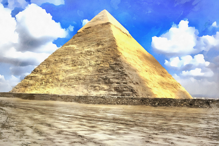 Great pyramids colorful painting Giza Egypt Stock Photo