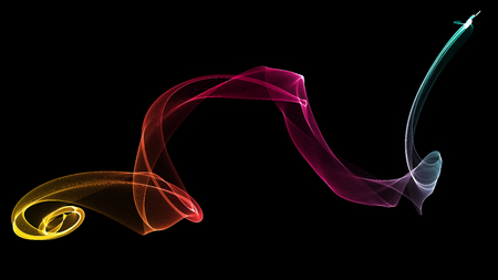 voile: 3d illustration of Colorful waves look like smoke