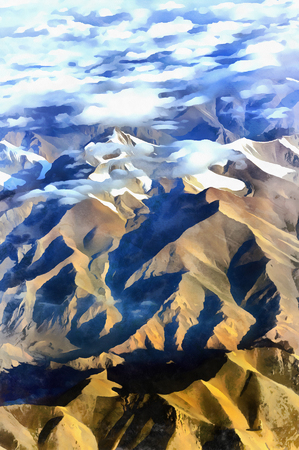 jokul: Mountain scape aerial view colorful painting Stock Photo