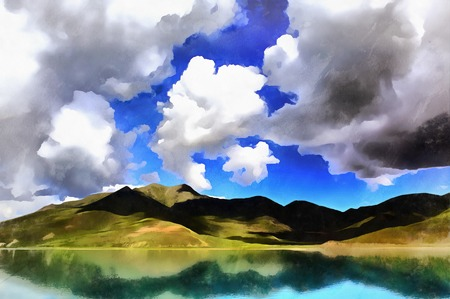 Beautiful landscape with Yamdrok lake and mountains colorful painting Stock fotó