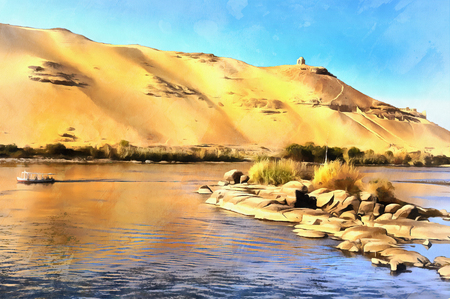 Colorful painting of desert on the Western bank of the Nile Stock Photo