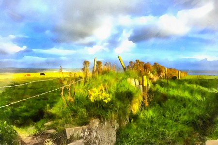 Colorful landscape painting of cliffs of Moher