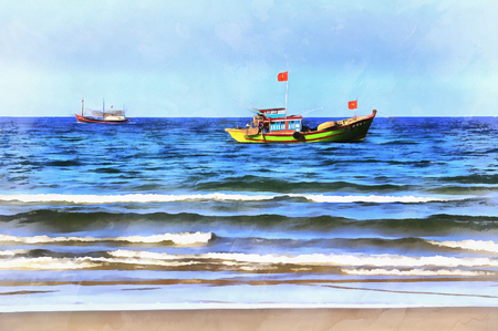 Seascape colorful painting Stock Photo