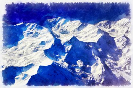 空中の雪に覆われた山々 のカラフルな絵画