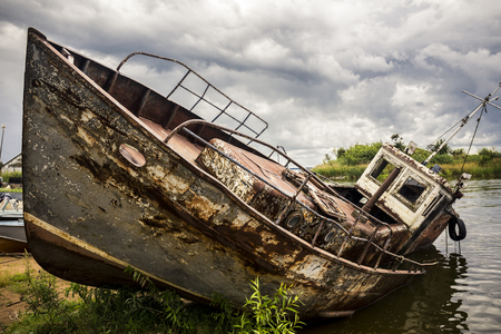 View on old rusty boat