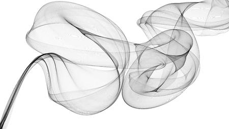 3D illustration of Black waves look like smoke