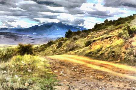 Colorful painting of landscape with road in the Caucasus mountains Georgia