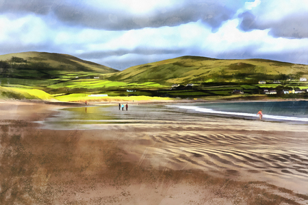 eire: Colorful painting of sea shore at Ventry harbour Dingle peninsula Ireland