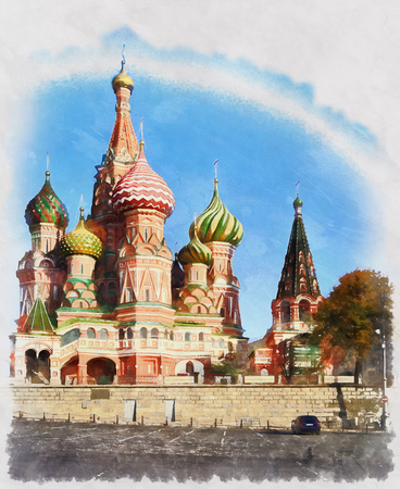 Colorful painting of St Basils cathedral Moscow Russia