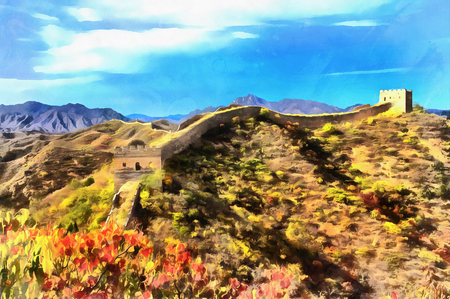 walled: Colorful painting of Great Wall of China Stock Photo