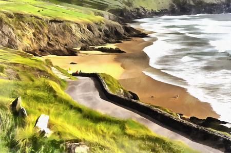 Colorful painting of sea coast landscape, Slea Head