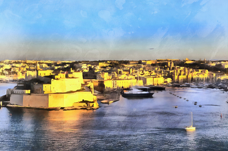 Colorful painting view to Fort Saint Angelo Malta