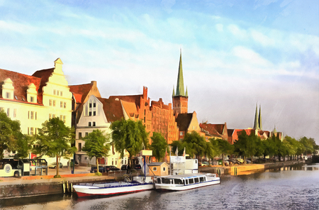 Colorful painting of old city embankment Lubeck