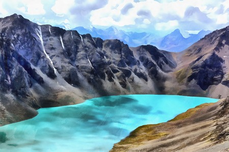 Colorful painting of Ala Kul mountain lake