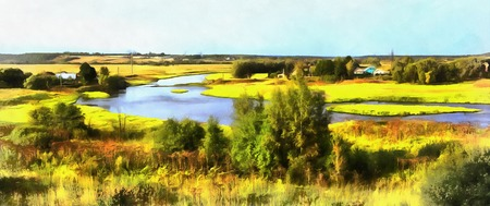 moskva: Colorful painting of landscape with Moskva river
