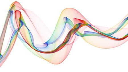 3D illustratie van gekleurde golven eruit rook