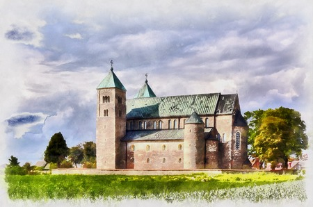 Colorful painting of romanesque collegiate church, Tum, Lodz Voivodeship, Poland