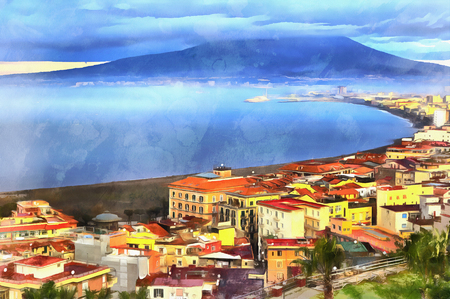 Colorful painting of aerial view on Mount Vesuvius