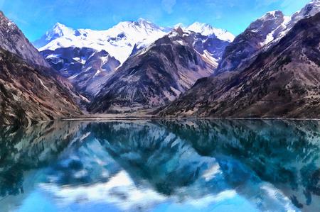 Beautiful landscape colorful painting of Lake Iskanderkul and Fan mountains, Tajikistan