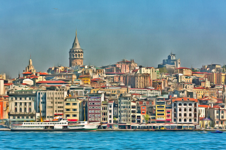 Colorful painting of Istanbul cityscape