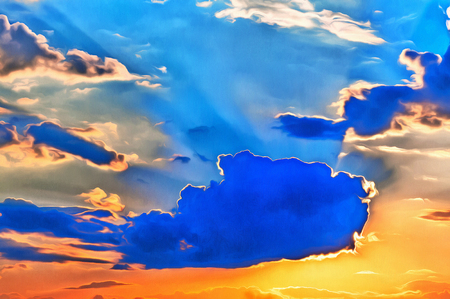 Colorful painting of sky at sunset