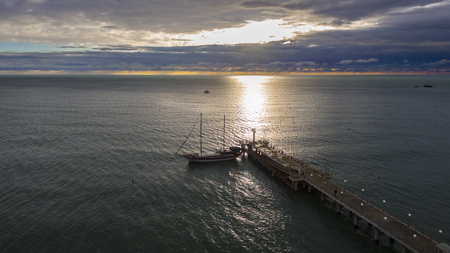 Aerial view on sailing ship at the sea Stock Photo